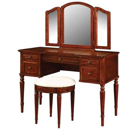Cherry Makeup Vanity by Powell Furniture Vanity Set In Warm Cherry 429 290