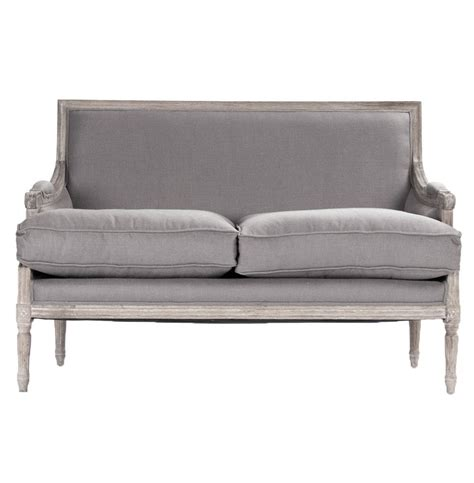country settee st germain french country limed oak louis xvi grey linen
