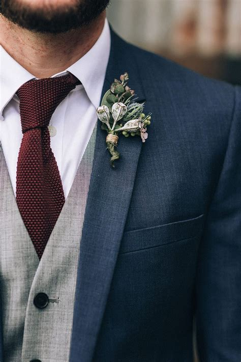 Groom Wedding by A Boho Country Wedding With Flowers Navy Groom