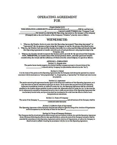 llc operating agreement template free business operating agreement sle llc operating