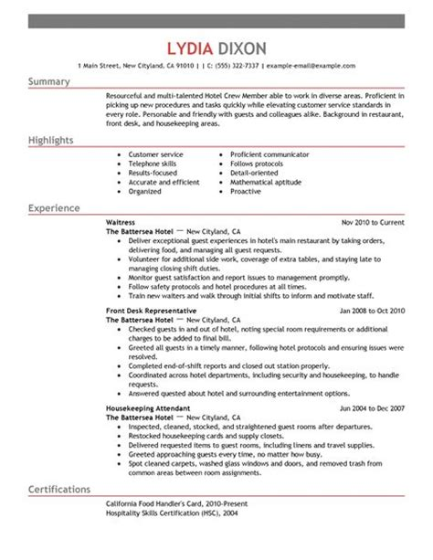 Sle Resume For Crew Member At Jollibee Best Hospitality Crew Member Resume Exle Livecareer