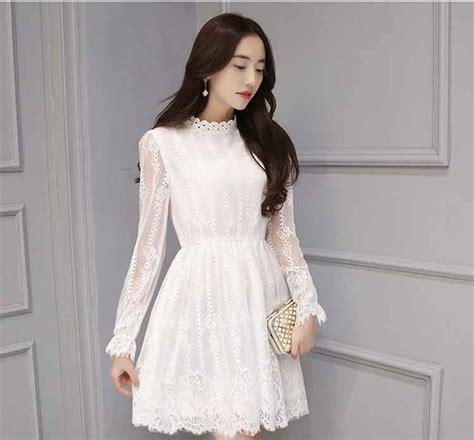 Dress Brokat 6 dress brokat korea cantik lengan panjang warna putih a2962