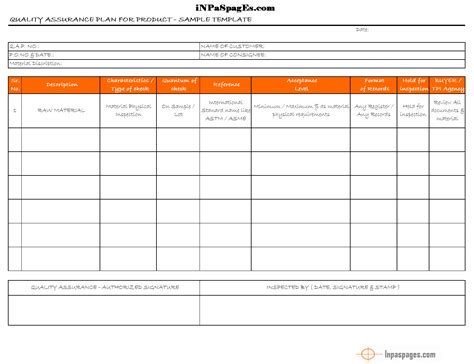qc report template quality assurance plan qap