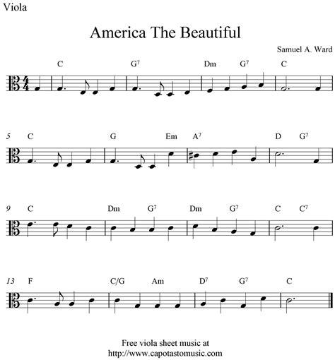 free printable sheet music viola free viola sheet music america the beautiful