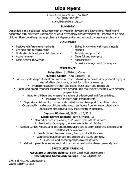 how to write babysitting on a resume best resume exle livecareer
