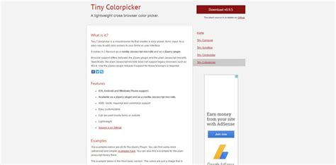 free tiny colorpicker with web page color picker