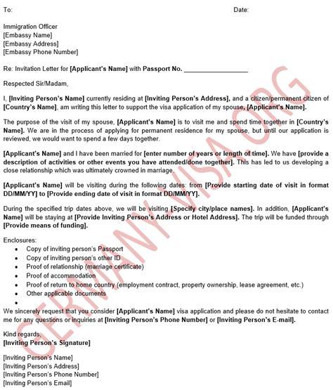 german visa invitation letter sample  spouse