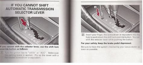 how to override 2007 lexus gs gear shifter from a park shifter stuck in park any ideas club lexus forums