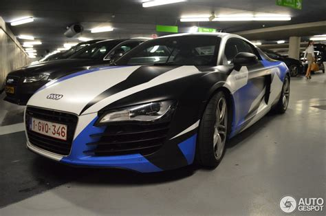 audi r8 wrapped audi r8 spotted in arctic camo wrap