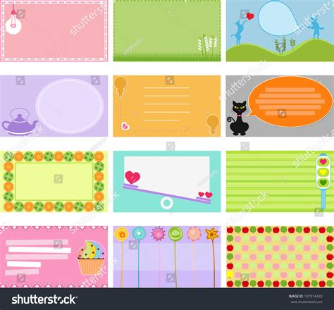 name tag design cartoon character vector design elements blank label sweet stock vector