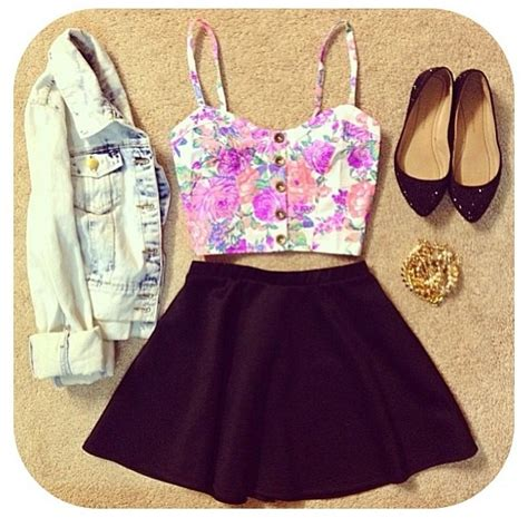 cute floral skirt outfits for teens cute crop top skirt outfit clothes i want