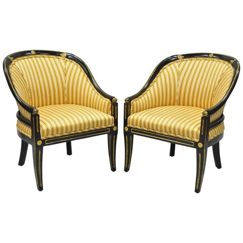 Gold Accent Chair Pair Of Black Ebonized And Gold Neoclassical Barrel Back