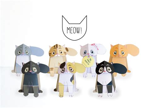 Papercraft Cats - cats printable diy paper craft kit 3d cat