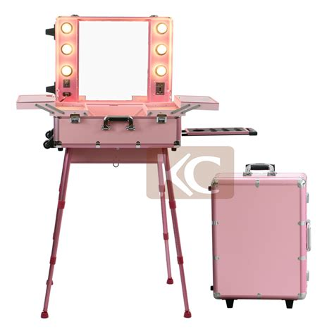 with lights professional aluminum makeup with lighted mirror