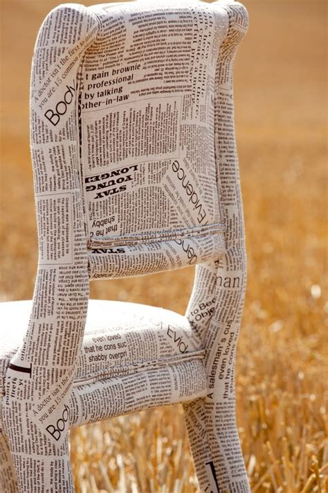 Decoupage With Newspaper Clippings - newspaper fabric chair could actually papier mache