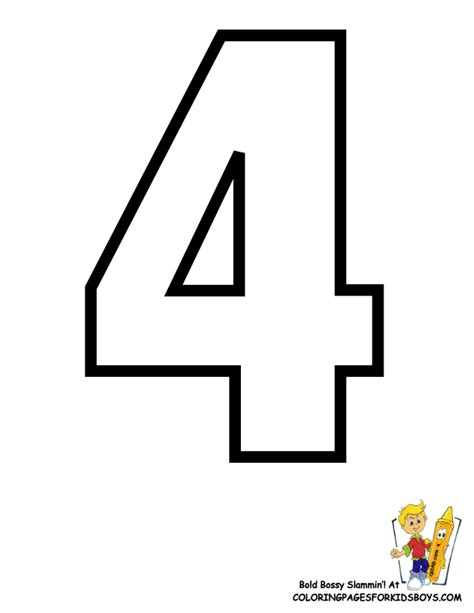 Number 4 Coloring Page Printable by Classic Alphabet Printables Learning Letters Free