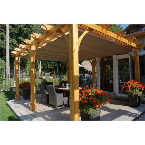 Outdoor Living Today Bz1216wrc 12 Ft X 16 Ft Cedar Breeze Pergola With Retractable Canopy
