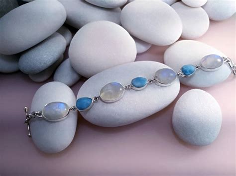 Larimar and Moonstone Sterling silver bracelet.   110 eur.   Jewellery Gems bracelets   QAF