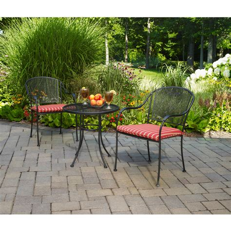 mainstays wrought iron outdoor bistro set seats