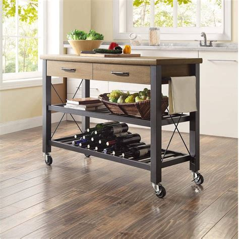 rolling kitchen island cart rustic storage trolley shelves