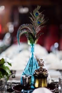 blue decorations blue wedding centerpiece with peacock featherswedwebtalks