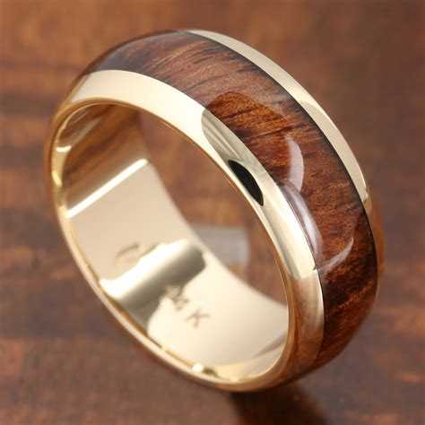 14k solid yellow gold with koa wood inlay wedding ring 7mm