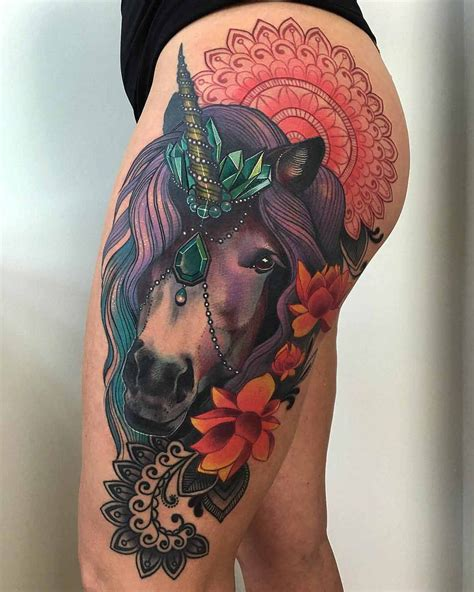 animals tattoo with unicorn and colour