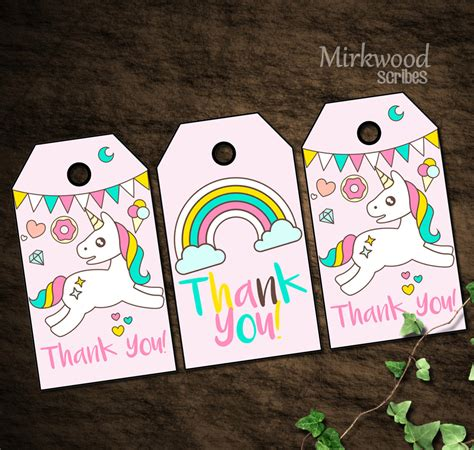 printable thank you tags for gift bags magical unicorn donuts and rainbows thank you gift bag