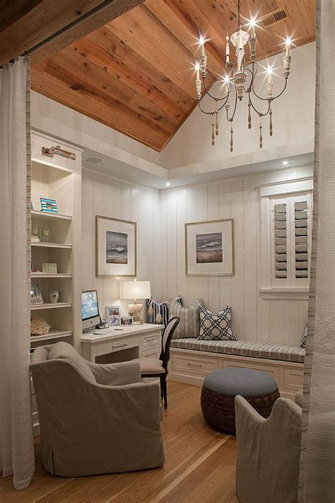shiplap den small home office den with reclaimed plank wood ceiling