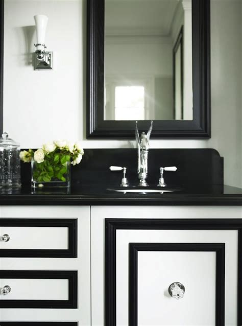 black and white bathroom vanity white and black vanity transitional bathroom greg natale
