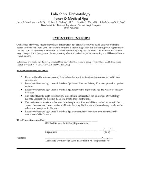 Consent Form Hipaa Privacy Consent Form Template