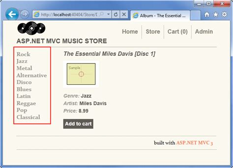 how to design layout in mvc mvc music store