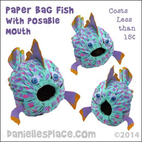 Paper Bag Fish Craft - the sea crafts and learning activities for