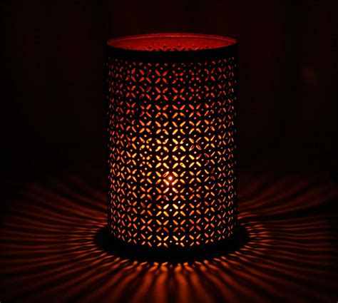handmade tea light candle holder in iron black copper