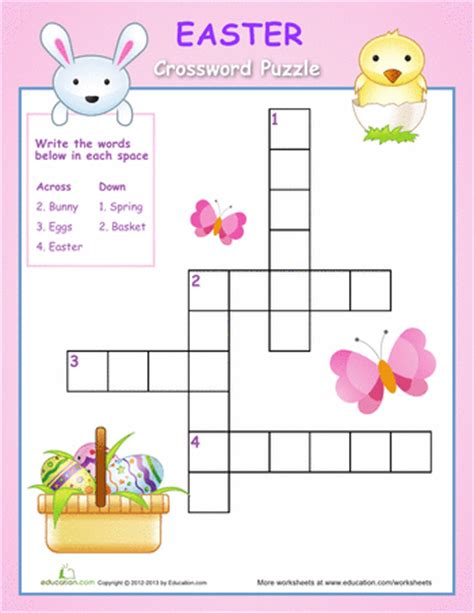 printable easter puzzle easter crossword puzzle worksheets easter and easter