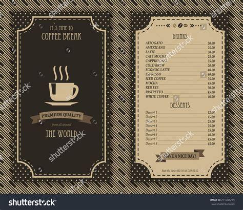 Elegant Coffee House Menu Design List Stock Vector 211288219 Shutterstock Coffee House Menu Template