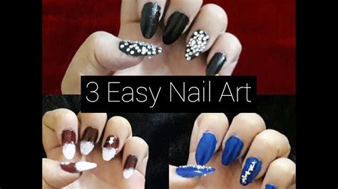 easy christmas nail art youtube 3 easy nail art rhinestone christmas nail art youtube