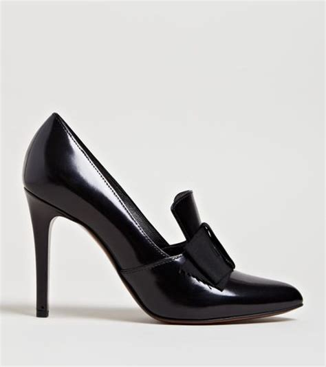 womens black high heel loafers lanvin womens loafer heels in black lyst