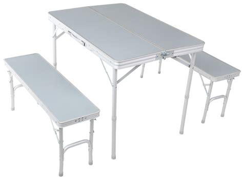 folding table bench urban escape folding table bench set aluminium tubing matt