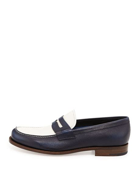 spectator loafers prada saffiano spectator loafer blue white