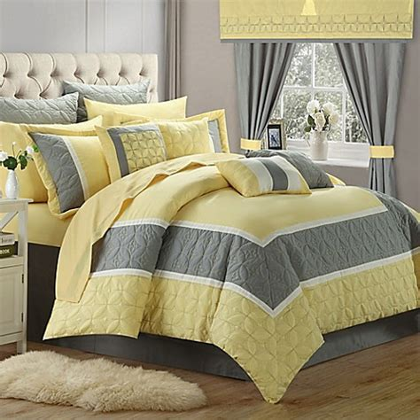 buy chic home ariane 25 piece king comforter set in yellow