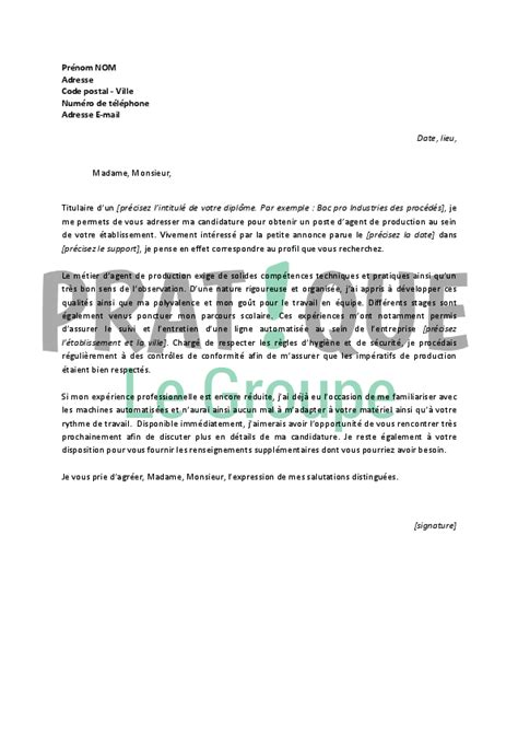 Lettre De Motivation Opératrice De Production Lettre De Motivation Pour Un Emploi D De Production D 233 Butant Pratique Fr