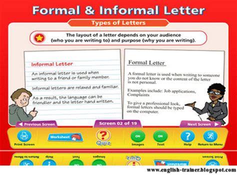 Formal Letter Vs Informal formal and informal letters in trainer s