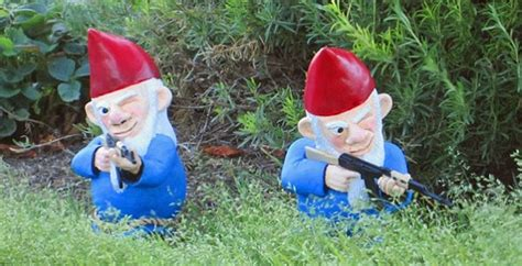 garden gnomes with guns gnomes with guns take garden pest control up a notch