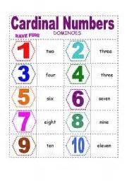 cardinal numbers dominoes 1 20