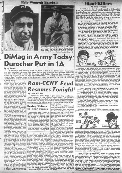 Daily News Classified Section by Joe Dimaggio Enlists In The Army In 1943 Ny Daily News