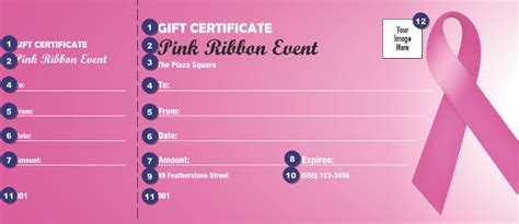 Pink Ribbon Gift Certificate Ticketprinting Com Breast Cancer Raffle Ticket Template