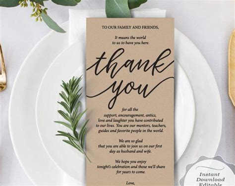 thank you cards for dinner template reception place setting card wedding thank you card
