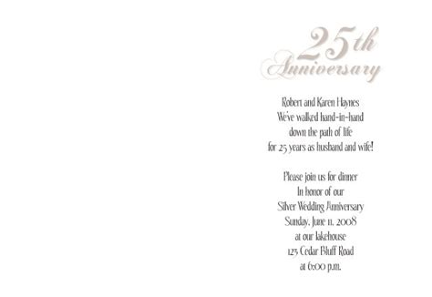 25th wedding anniversary invitation cards templates 25th wedding anniversary invitations