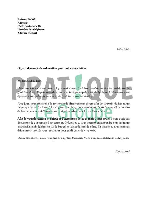 Exemple De Lettre Pour Cooperative modele lettre subvention association document